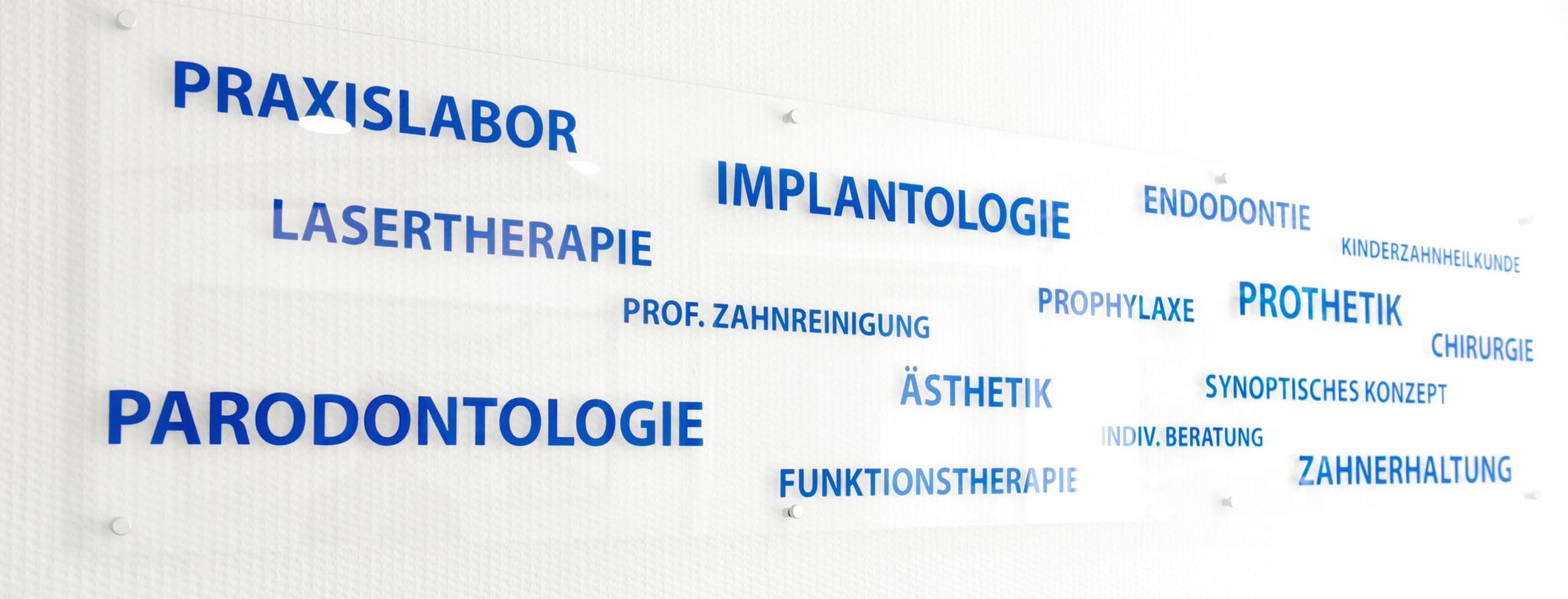 Leistungen der Zahnarztpraxis Dr. Fischer: Praxislabor, Implantologie, Endodontie, Kinderzahnheilkunde, Lasertherapie, Prophylaxe, Prothetik, Chirurgie, Ästhetik, Parodontologie, Funktionstherapie, Zahnerhaltung